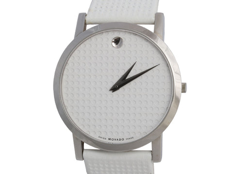 Movado Stainless Steel Textured White Face Watch 39mm