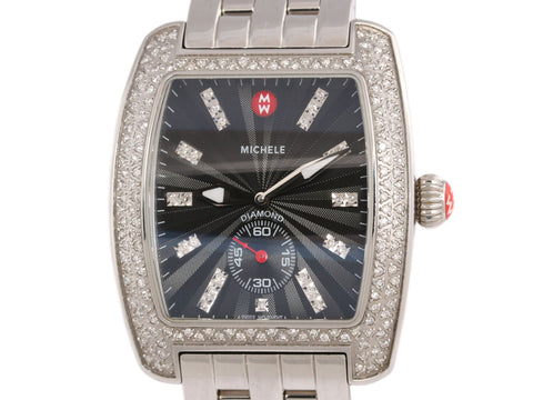 Michele Extra Large Urban Black Sunburst Dial Diamond Watch