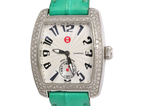 Michele Stainless Steel and Diamond Mini Urban Watch with 10 Extra Straps