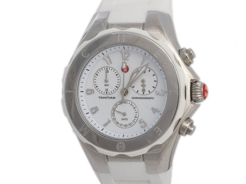 Michele White Tahitian Chronograph Jelly Bean Watch 40mm