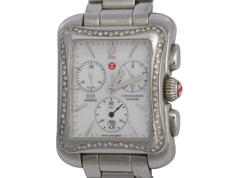 Michele Stainless Steel and Diamond Deco Moderne Chronograph Watch