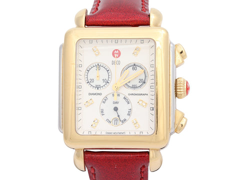 Michele Two-Tone Deco Diamond Chronograph Watch 37mm with 7 Additional Bands