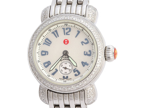 Michele Petite Stainless Steel and Diamond CSX Watch 26mm