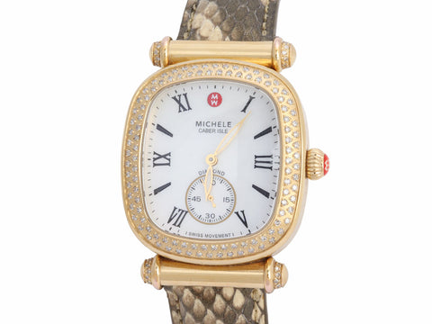 Michele Caber Isle Diamond Watch with 4 Additional Straps
