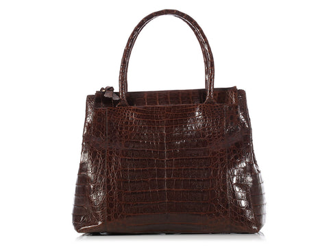 Nancy Gonzalez Brown Crocodile Tote