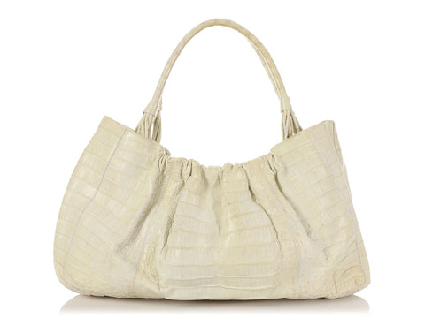 Nancy Gonzalez Off-White Crocodile Tote