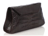 Nancy Gonzalez Brown Crocodile Evening Flap Bag