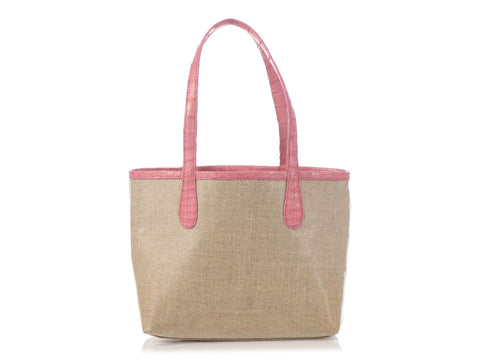 Nancy Gonzalez Pink Erica Linen and Crocodile Tote