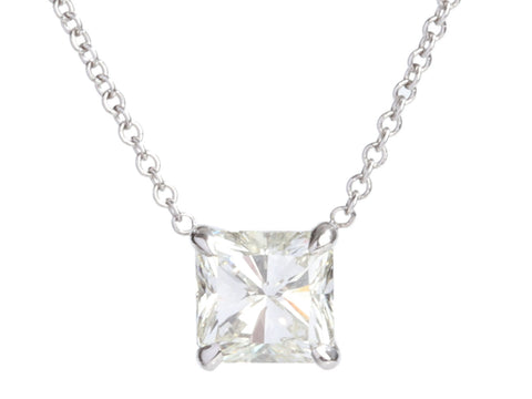 14K White Gold 1.16-Carat Radiant-Cut Diamond Necklace