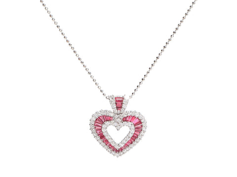 White Gold Burma Ruby and Diamond Heart Pendant Necklace