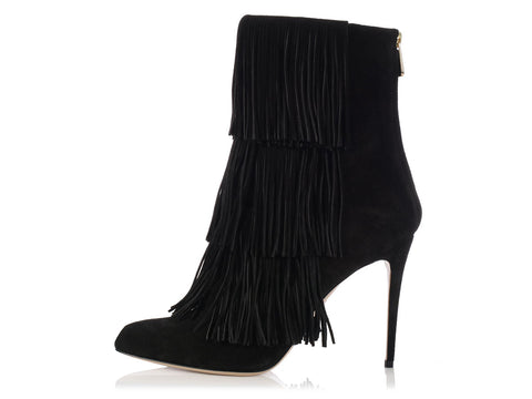 Paul Andrew Black Suede Fringed Booties