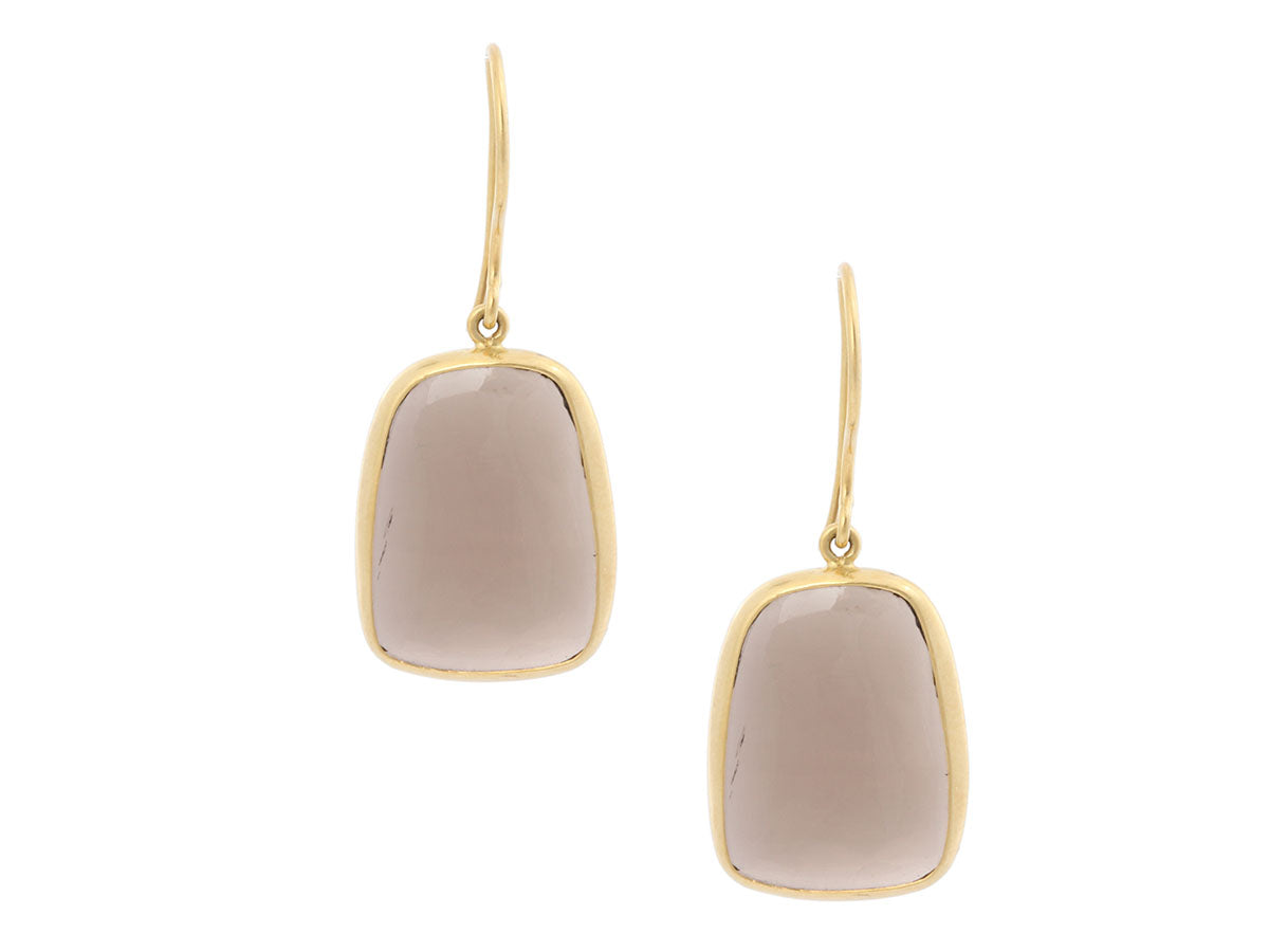 Pippa Small 18K Yellow Gold Smoky Quartz Flare Pierced Drop Earrings