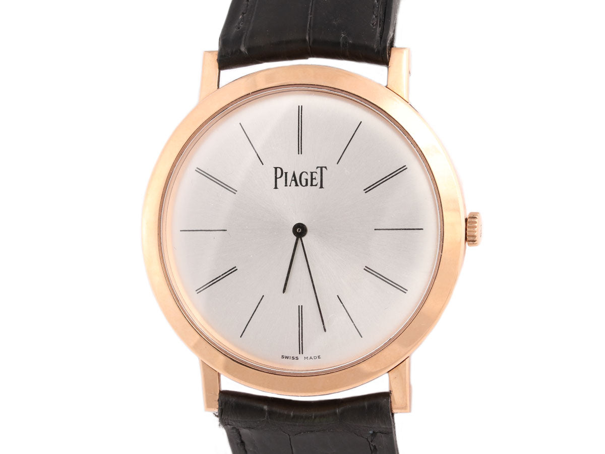 Piaget Mens 18K Gold and Black Alligator Ultra-Thin Altiplano Watch 38mm