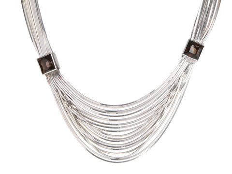 Pianegonda Sterling Silver Smoky Topaz Multichain Necklace
