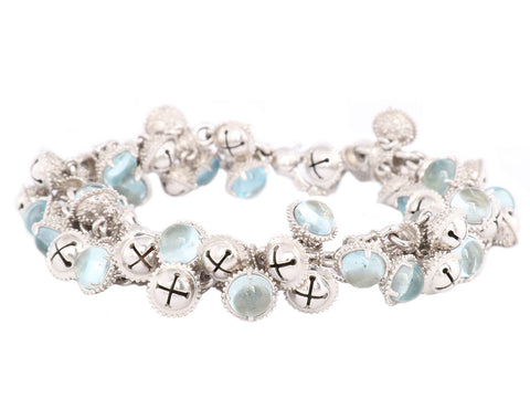 Paul Morelli Blue Topaz and Sterling Meditation Bells Bracelet