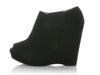 Prada Black Suede Peep Toe Wedge Booties