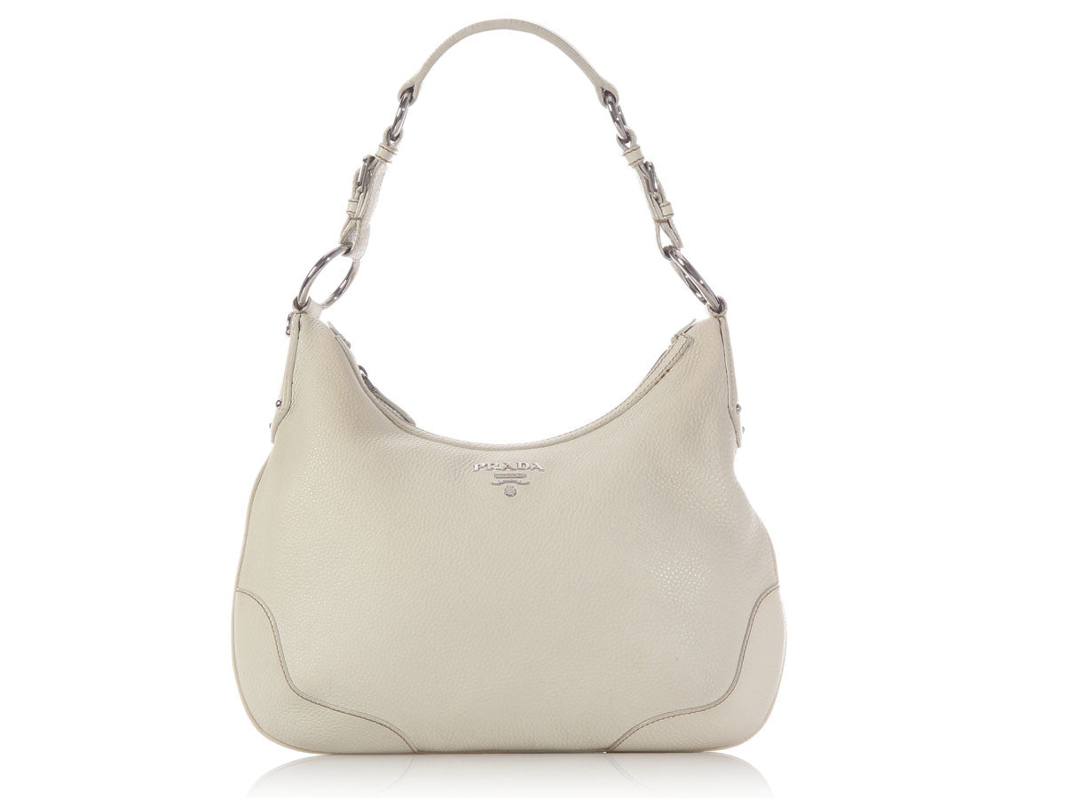 Prada Off-White Leather Hobo