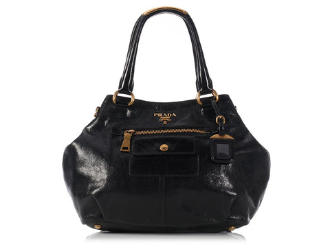 Prada Black Vitello Shine Satchel