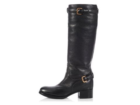 Prada Black Riding Boots