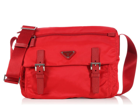 Prada Red Nylon Messenger