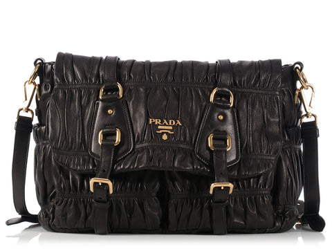 Prada Ruched Black Messenger Bag