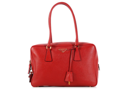 Prada Red Saffiano Bauletto Bag