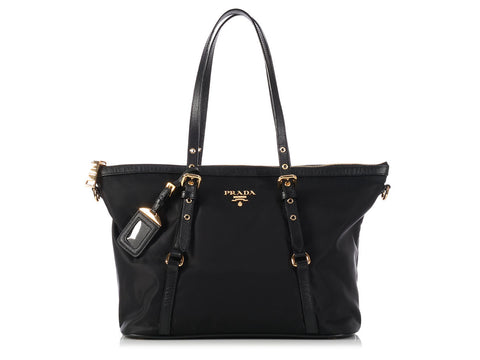 Prada Black Nylon Shopping Tote