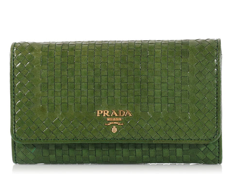 Prada Green Madras Wallet on a Strap