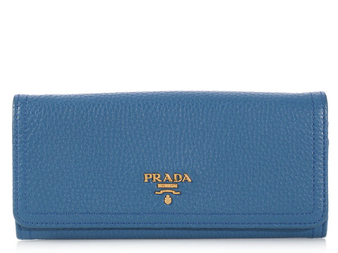 Prada Long Blue Wallet