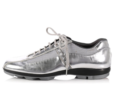 Prada Silver Leather Sneakers