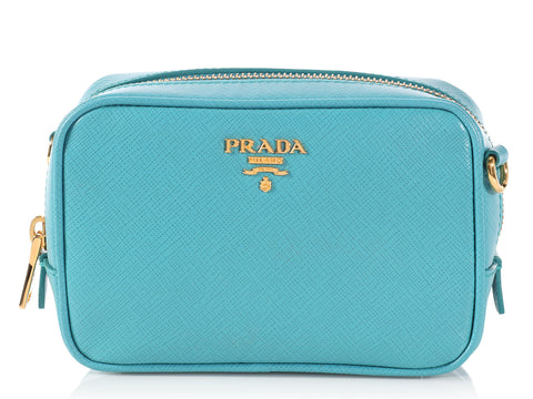 Prada Mini Blue Saffiano Leather Camera bag