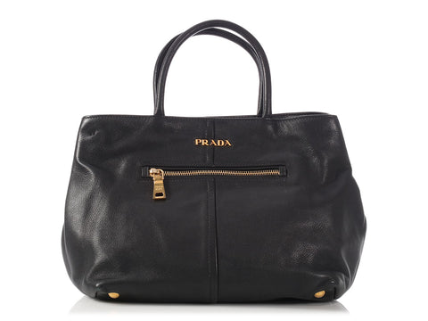 Prada Black Leather Convertible Tote