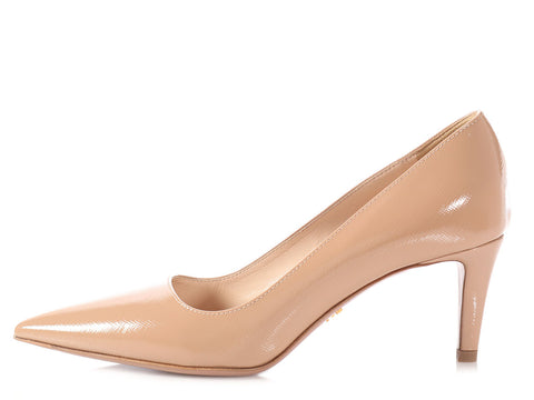 Prada Beige Shiny Saffiano Leather Pumps