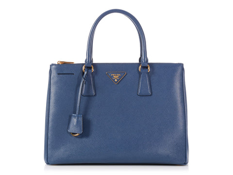 Prada Medium Bluette Saffiano Lux Double Zip Tote