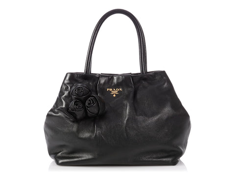 Prada Black Nappa Rose Satchel
