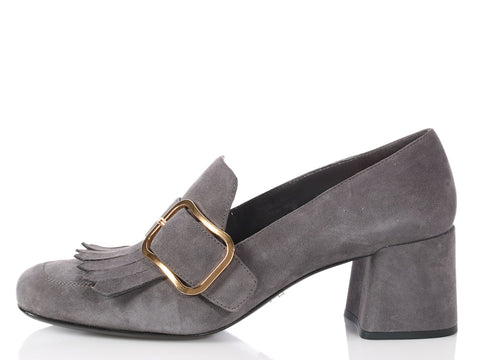 Prada Gray Suede Kiltie Loafer Pumps