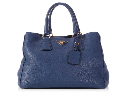 Prada Small Blue Vitello Daino Tote