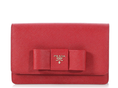 Prada Red Saffiano Lux Bow Crossbody Bag