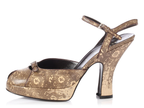 Prada Natural Snakeskin Peep-Toe Slingbacks