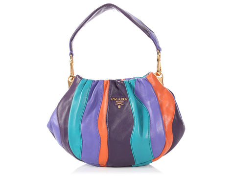 Prada Nappa Trembled Blossoms Stripes Bag