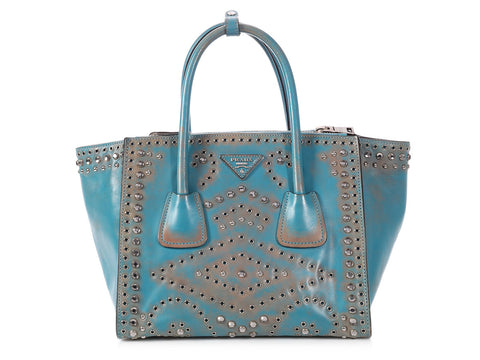 Prada Crystal Studded Vitello Vintage Twin Pocket Tote