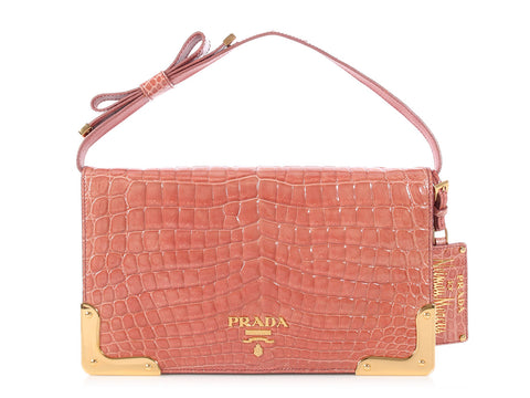 Prada Pale Pink Crocodile Neiman Marcus 100th Anniversary Bag