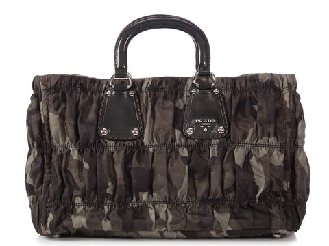 Prada Ruched Nylon Camouflage Bag