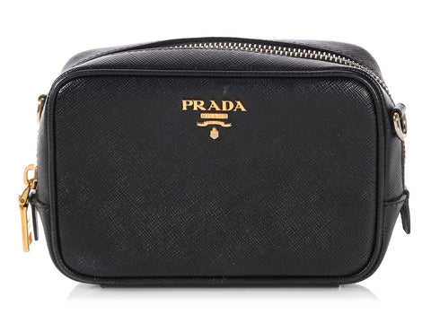 Prada Mini Black Saffiano Camera Bag