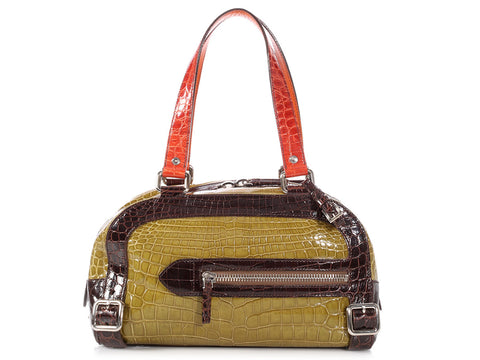 Prada Multicolor Crocodile Bowler Bag