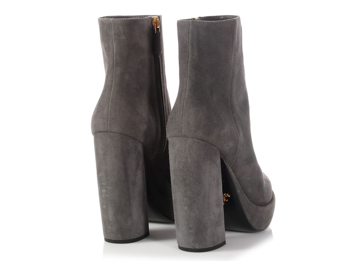 6be188fe8bb3 Prada Gray Suede Platform Ankle Boots