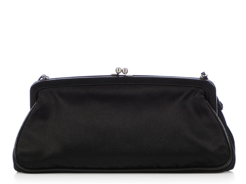 Prada Black Satin Kiss Lock Evening Bag