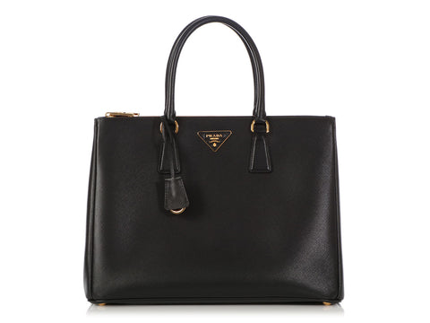 Prada Large Black Saffiano Lux Galleria Double Zip Tote