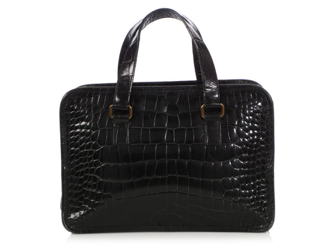 Prada Black Saint Cocco Lucido Double Zip Tote