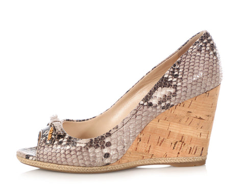 Prada Snakeskin and Cork Wedges